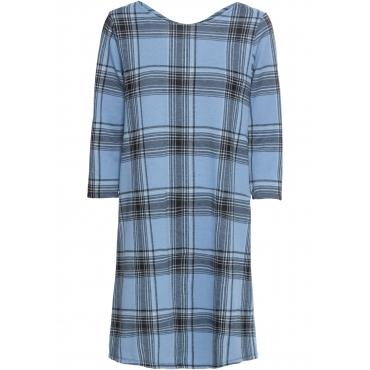 Karo-Kleid 3/4 Arm  in blau (Rundhals) von bonprix