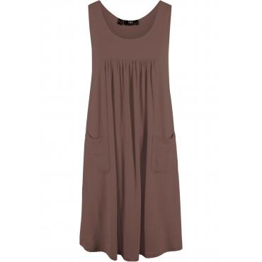 Kaschierendes Stretch-Kleid, unifarben ohne Ärmel  in braun für Damen von bonprix