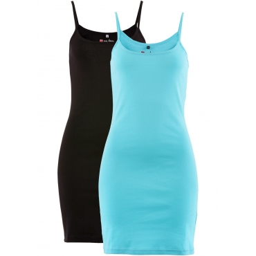 Kleid (2er-Pack) ohne Ärmel  in blau für Damen von bonprix