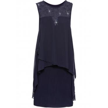 Jerseykleid mit Chiffon ohne Ärmel  in blau für Damen von bonprix