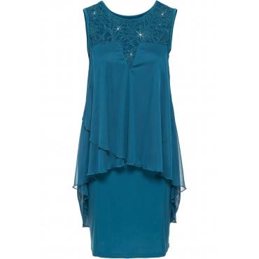 Jerseykleid mit Chiffon ohne Ärmel  in petrol für Damen von bonprix