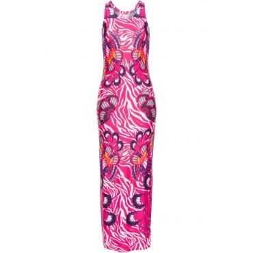 Kleid bunt ohne Ärmel  in rosa von bonprix