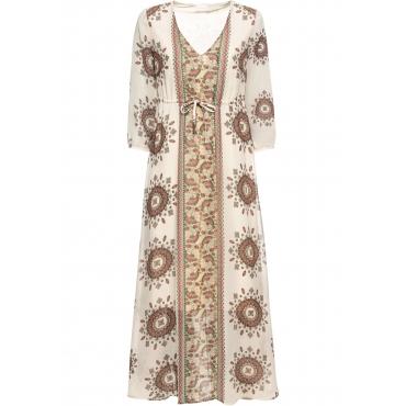 Kleid halber Arm  in beige (V-Ausschnitt) von bonprix