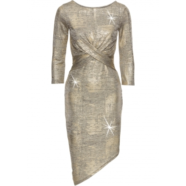 Kleid in Metallic-Optik 3/4 Arm  in gold von bonprix