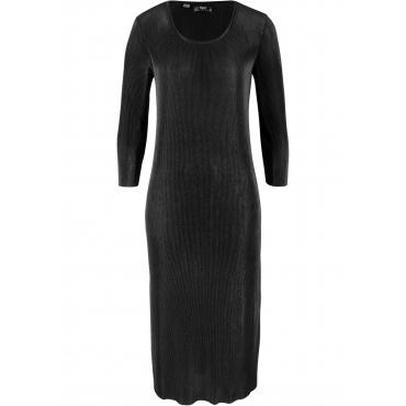 Kleid in Rippqualität 3/4 Arm  in schwarz für Damen von bonprix
