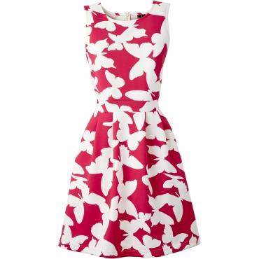 Kleid in Scubaoptik ohne Ärmel  in rot von bonprix