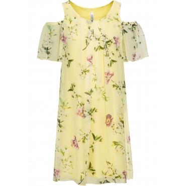 Cold-Shoulder-Kleid in Seidenoptik kurzer Arm  in gelb für Damen von bonprix