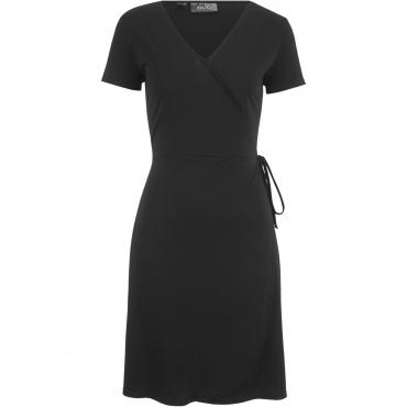 Kleid in Wickeloptik kurzer Arm  in schwarz für Damen von bonprix