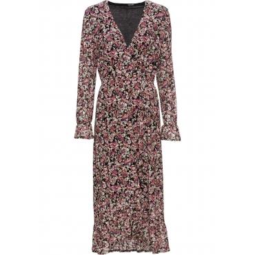 Kleid in Wickeloptik langarm  in schwarz von bonprix