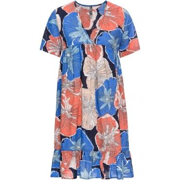 Kleid kurzer Arm  in blau (V-Ausschnitt) von bonprix