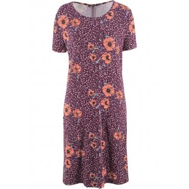 Kleid kurzer Arm  in lila (Rundhals) von bonprix