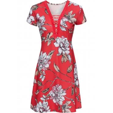 Kleid kurzer Arm  in rot von bonprix