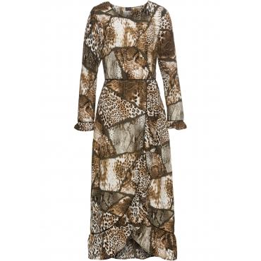 Kleid mit allover Animal-Print langarm  in grün von bonprix