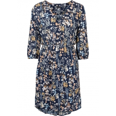 Kleid mit Allover-Druck in blau von bonprix