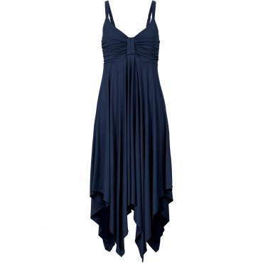 Kleid mit asymmetrischem Saum ohne Ärmel  in blau von bonprix