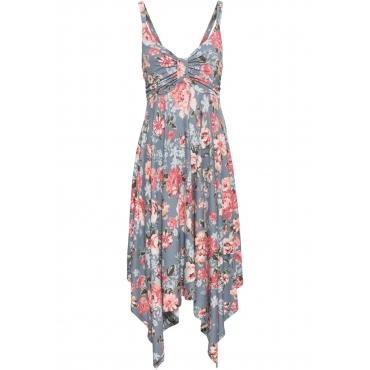 Kleid mit asymmetrischem Saum ohne Ärmel  in grau von bonprix