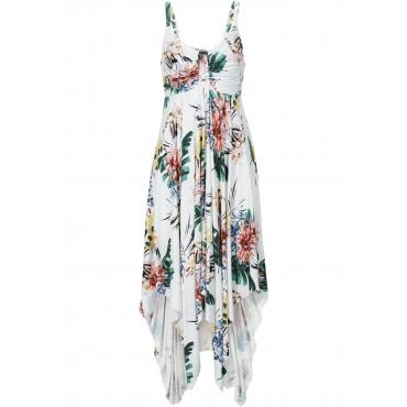 Kleid mit asymmetrischem Saum ohne Ärmel  in weiß  von bonprix