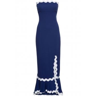 Kleid mit Beinschlitz ohne Ärmel  in blau von bonprix