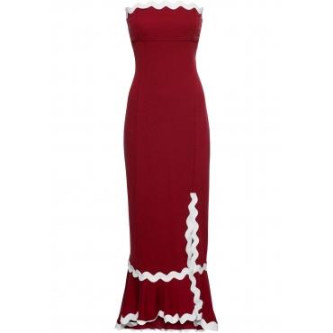 Kleid mit Beinschlitz ohne Ärmel  in rot  von bonprix