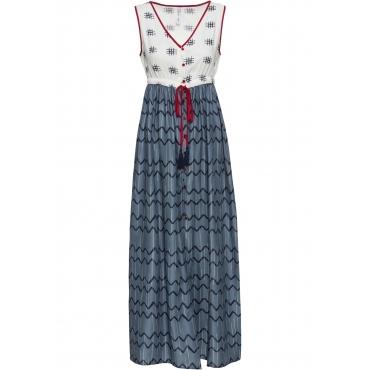Kleid mit Bindeband ohne Ärmel  in grau für Damen von bonprix