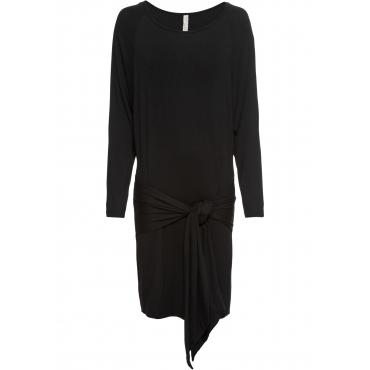 Kleid mit Bindedetail langarm  in schwarz von bonprix