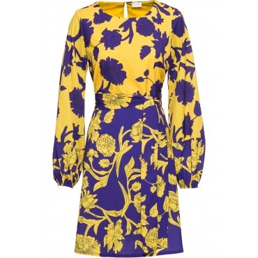 Kleid mit Bindegürtel langarm  in lila für Damen von bonprix