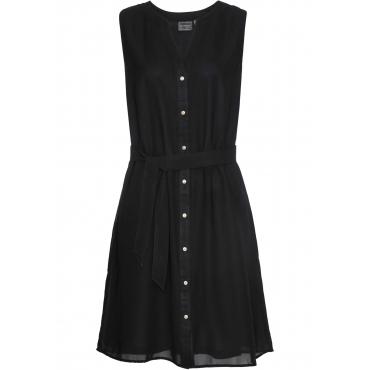 Kleid mit Bindegürtel ohne Ärmel  in schwarz für Damen von bonprix