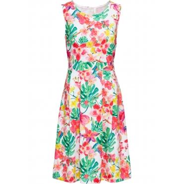 Kleid mit Blumen ohne Ärmel  in weiß für Damen von bonprix