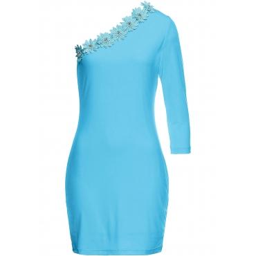 Kleid mit Blumenapplikationen ohne Ärmel  in blau von bonprix