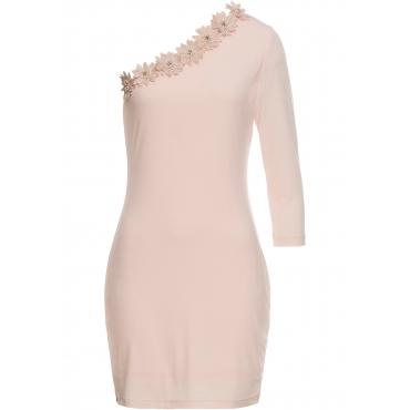 Kleid mit Blumenapplikationen ohne Ärmel  in rosa von bonprix