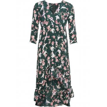Kleid mit Blumendruck 3/4 Arm  in grün von bonprix