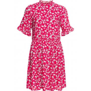 Kleid mit Blumendruck kurzer Arm  in rot  von bonprix