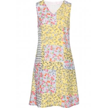 Kleid mit Blumendruck ohne Ärmel  in gelb von bonprix