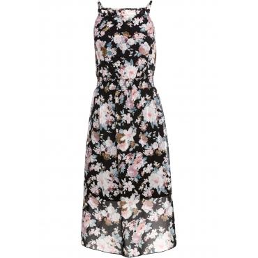Kleid mit Blumendruck ohne Ärmel  in schwarz von bonprix