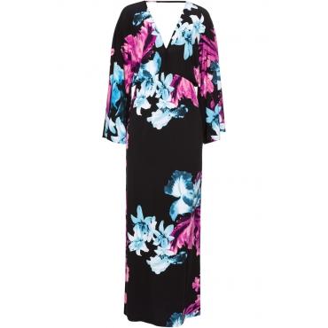Kleid mit Blumenprint 7/8 Arm  in schwarz von bonprix