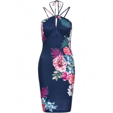 Kleid mit Blumenprint ohne Ärmel  in blau von bonprix
