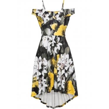 Kleid mit Blumenprint ohne Ärmel  in gelb  von bonprix