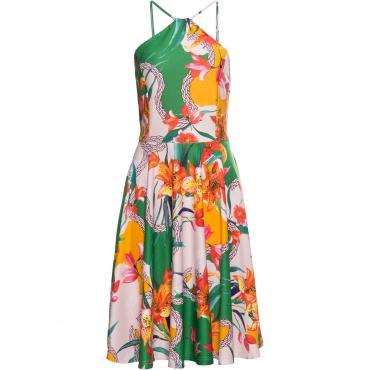 Kleid mit Blumenprint ohne Ärmel  in grün für Damen von bonprix