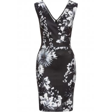 Kleid mit Blumenprint ohne Ärmel  in schwarz  von bonprix
