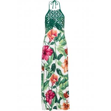 Neckholder-Kleid mit Blumenprint ohne Ärmel  in weiß für Damen von bonprix