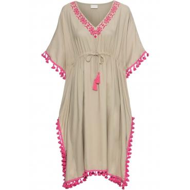 Kleid mit Borte halber Arm  in braun von bonprix
