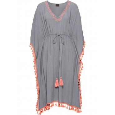 Kleid mit Borte halber Arm  in grau  von bonprix