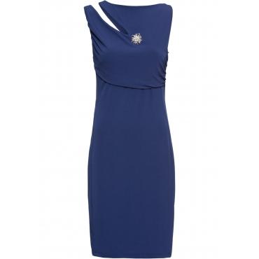 Kleid mit Brosche ohne Ärmel  in blau von bonprix
