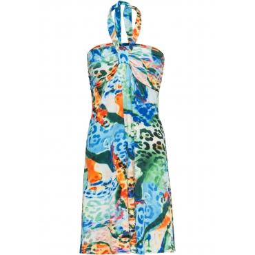 Kleid mit buntem Print ohne Ärmel  in blau von bonprix