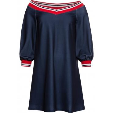 Kleid mit Carmen-Ausschnitt in blau für Damen von bonprix