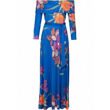 Kleid mit Carmen-Ausschnitt in blau von bonprix