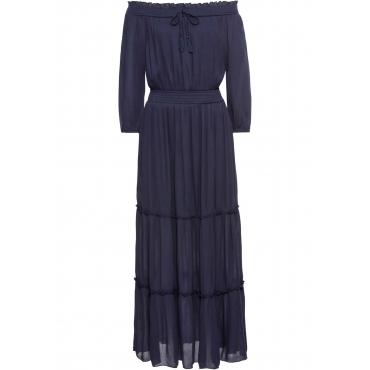 Kleid mit Carmenausschnitt in blau von bonprix