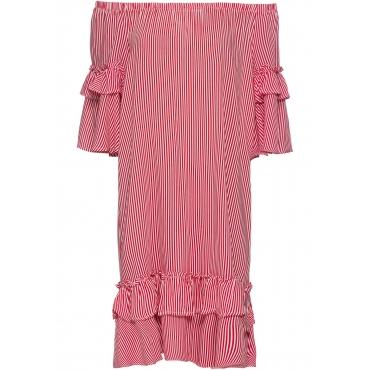 Kleid mit Carmenausschnitt in rot von bonprix