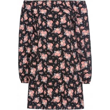 Kleid mit Carmenausschnitt in schwarz  von bonprix