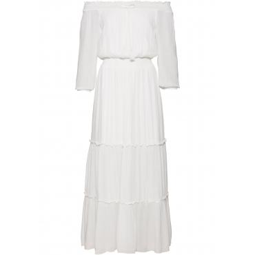 Kleid mit Carmenausschnitt in weiß von bonprix